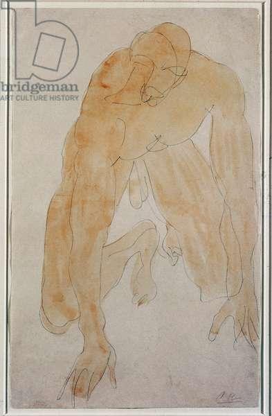 Kneeling man Watercolour by Auguste Rodin (1840-1917) New York, Museum of Modern Art