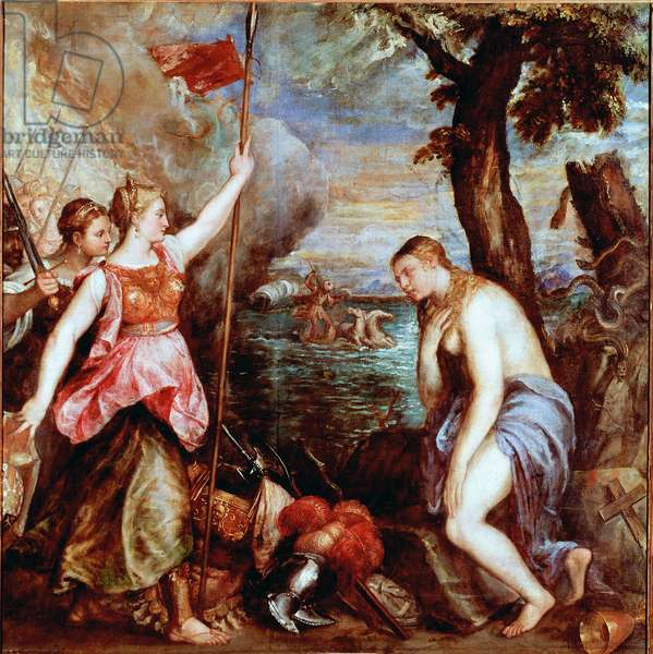 Spain to the aid of Religion: allegory of the victory of the troops of Pope Pius V (including Spain) over the fleet of the Ottoman Empire in the naval battle of Lepante in 1571. A woman denudee (religion) is saved by a warrior representing Spain. Painting by Tiziano Vecellio called the Titian (1490-1576) 16th century Sun. 168x172 cm Rome, Galleria Doria