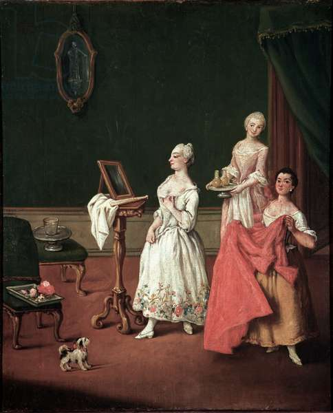 La toilette (The dressing session) Venetian aristocrat apprehending in front of his mirror aidee of two servants - Painting by Pietro Longhi (1701-1785) 1760 Dim 61x50 cm Venice, Ca 'Rezzonico, n 131 Italy