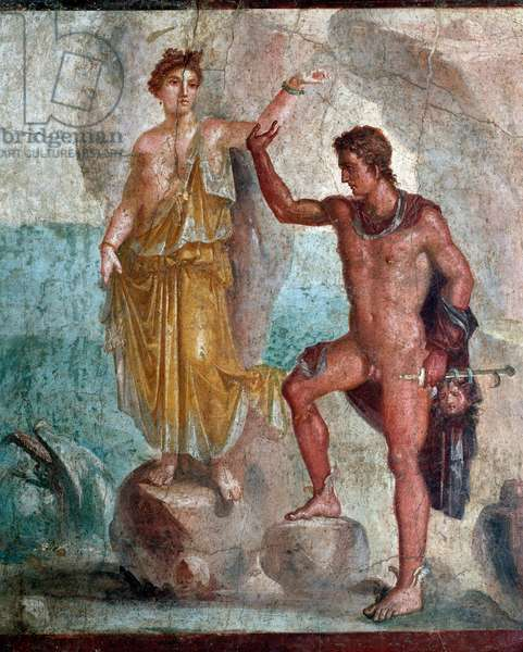 Roman Art: Persee liberating Andromede - Fresco 98x120 cm From the House of Dioscuri (Casa dei Dioscuri) a Pompei 1st century JC - (Archeological Museum of Naples) - Perseus frees Andromeda (Perseus holding the head of Medusa) - Fresco from the Casa dei Dioscuri, in Pompeii, 1rst cent. AD (98x120 cm) - Museo nazionale archeologico, Napoli (Italy)