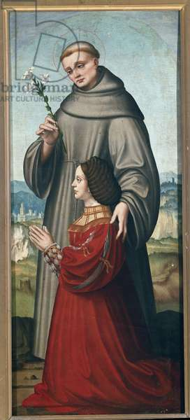 Saint Anthony of Padua presenting Giulia Trivulzio. Detail of a polyptych. Painting by Marco d'Oggiono (ca. 1470-1549). Tempera on wood. Pinacoteca di Brera, Milano (Pinacotheque de Brera, Milan).