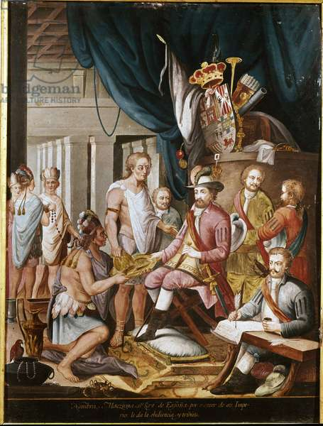 Conquest of Mexico: Moctezuma, Aztec emperor offers presents to the conquistador Hernan Cortes and swears loyalty to the Kingdom of Spain. (painting)
