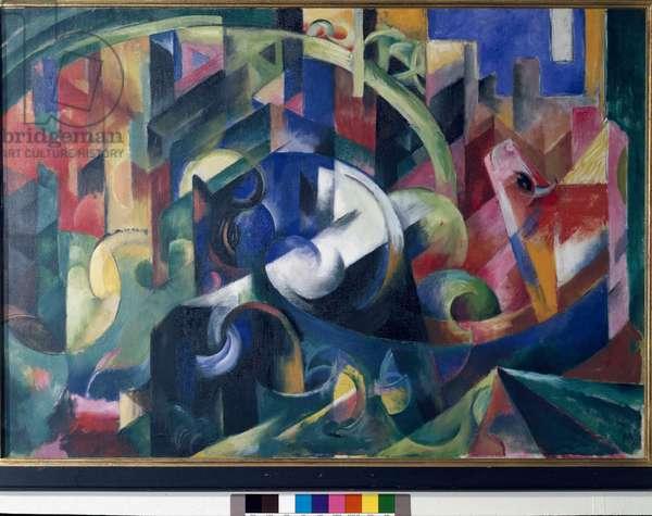 Painting with oxen (Bild mit rindern) Painting by Franz Marc (1880-1916) 1913-1914 Dim 92x130.8 cm Munich Bayerische Staatsgemalde Sammlungen