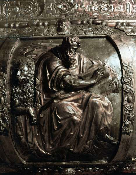 """Art Renaissance: """""""" Representation of Saint Mark """""""" Detail of gilded bronze relief decorating the pulpit of Evangelists by Giovanni Andrea Pellizzone, 1585-1599 ("""""""" St Mark """""""" gilded bronze relief decorating the pulpit of the evangelists), presbytery of the Cathedral (Dome, Duomo) in Milan, Italy"""