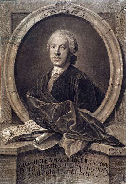 Portrait of english composer Johann Adolf Hasse (1699-1783) Engraving. 18th century. Bologna, civico museo musico