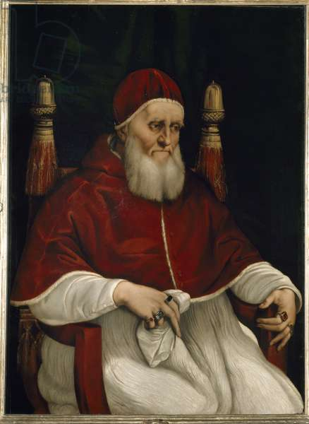 Portrait of Pope Jules (Giulio) II (1503-1513) Painting by Raphael (Raffaello Sanzio 1483 - 1520) Florence, Galleria degli Uffizi (Offices)