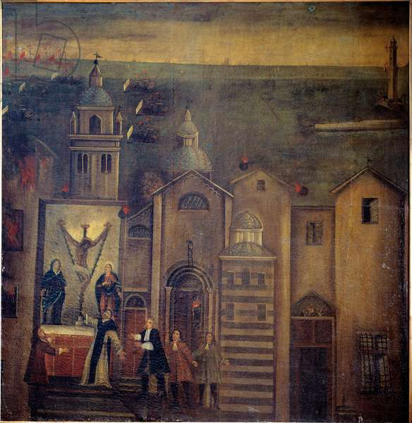The church of Santa Maria del Castello de Genes hit by bombs during the bombing of the French in 1684 Painting of the Ligurian school, 17th century Dim 162x160 cm Genes, Convento di Santa Maria di Castello Italy