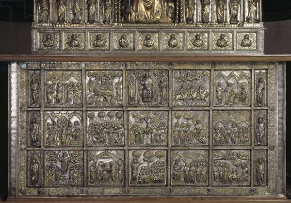 Silver Altar of Saint James the Major. Detail of the antependium with stories of new testament, 1287-1456
