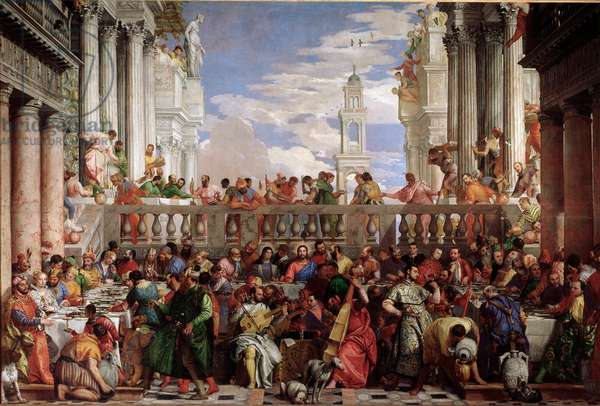 "The Wedding of Cana (Le nozze di Cana) (Miracle of the transformation of water into wine"" (Marriage of Cana) Painting by Paolo Caliari dit Paolo Veronese (1528-1588), 1563, Musee du Louvre"