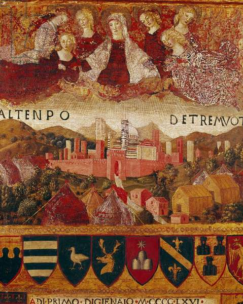 """Ex voto (or ex voto): """""""" The Virgin Mary protecting the city of Siena at the time of the earthquakes of 1466-1467"""""""" Detail. Wood painting by Francesco di Giorgio Martini (1439-1502) decorating a Biccherna (cover of the accounting register of the city of Siena) 1473. Siena Archivio di Stato, Italy"""