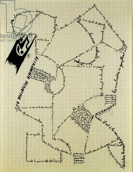 "Dadaisme (Dada): """" Calligrams"""" Ink drawing by Tristan Tzara (1896-1963) Milan, Schwarz collection, courtesy Mudima DR"