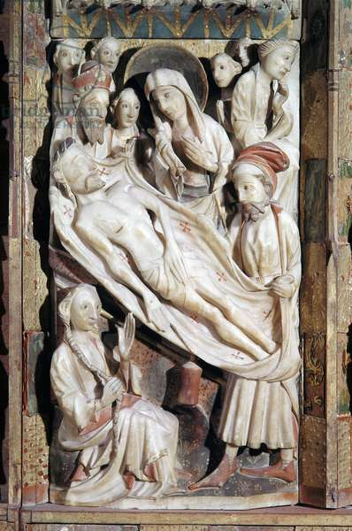 """Polyptych of the Passion: """"deposition"""""""" relief of albatre made by the manufacture of Nottingham, 15th century (Polyptych of the passion, alabaster relief representing the deposition, 15th century) Naples, Museo di Capodimonte"""
