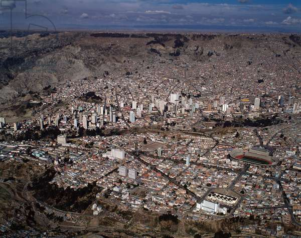 Air view on the city of La Paz, Bolivia, 1983 - Aerial view on city of La Paz, Bolivia - 1983 - Photography