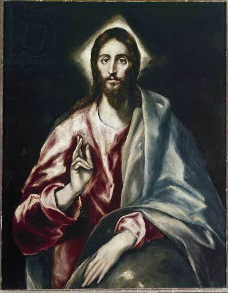 The Savior - Painting by Domenikos (Dominica) Theotokopoulos, known as The Greco (1541-1614), oil on canvas, 97x77 cm, 1610-1614. Toledo, Museo del Greco