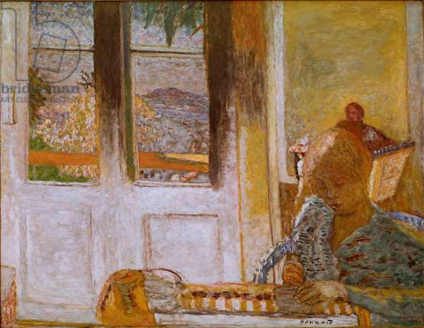 The French Window (Matin a Le Cannet) Painting by Pierre Bonnard (1867-1947) 1932. Oil on canvas. Dim. 86x112 cm Collection Privee