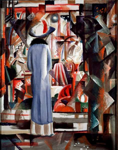 Large illuminated showcase A woman wearing a long coat and a hat looks at a showcase. Painting by August Macke (1887-1914) 1912 Dim. 105x85 cm Hanover, Sprengel Museum