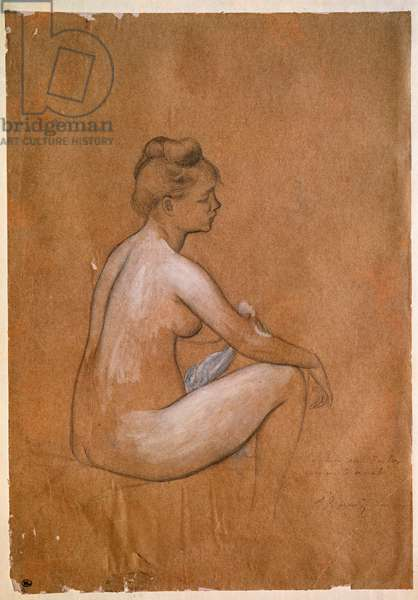 Sitting bather. Painting by Pierre Auguste Renoir (Pierre-Auguste, 1841-1919) 1885. Black and white pencil. Dim: 335x240mm. Paris, Musee du Louvre, Cabinet des Drawings
