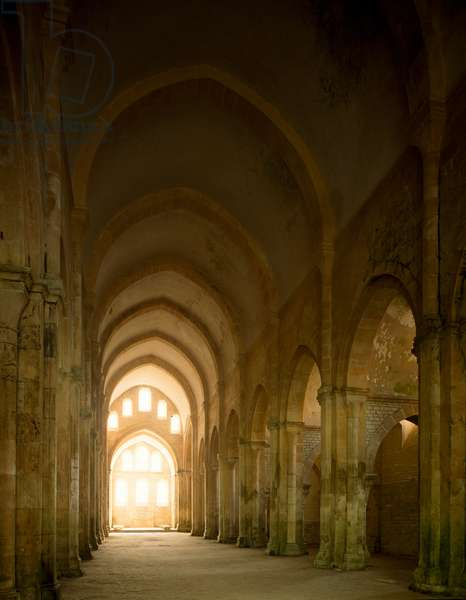 View of the nave of the church of the Cistercian abbey, 12th century (photography)