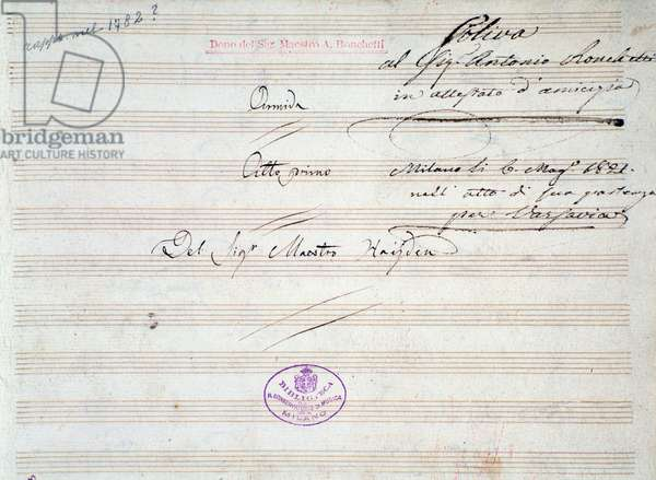 First page of musical score of minuet in  Armida by J Haydn (1821)