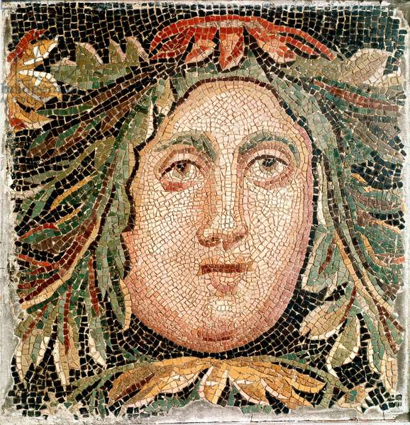 Roman art: mosaic representing the head of a marine deity. 3rd century AD. Rome, Museo Nazionale Romano - Roman Art. Sea Divinity. Mosaic, 3rd cent AD. Museo Nazionale Romano, Rome, Italy - Roman Art. Sea Divinity. Mosaic, 3rd cent AD. Museo Nazionale Romano, Rome, Italy