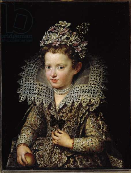 Portrait of Leonora (Eleonora) Gonzaga (1598-1655) called Eleonore of Mantua, child then wife of Emperor Ferdinand II Painting by Frans Pourbus the young (1569-1622) circa 1605 Florence, Galleria Palatina