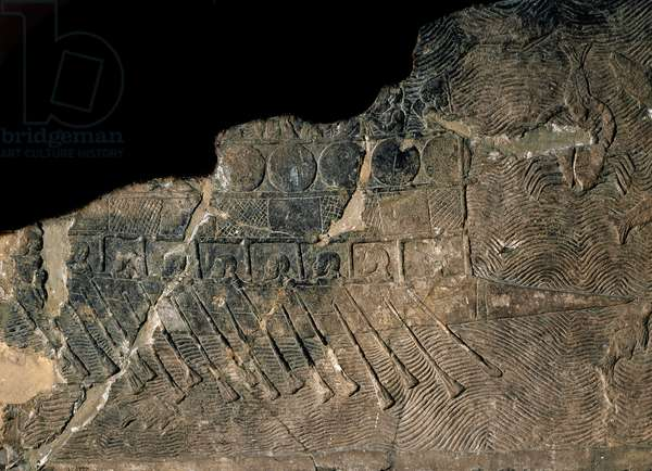 Neo-Assyrian art: Phenician ship. Detail of a low relief from the Palace of Assurbanipal or Ashurbanipal, King of Assyria (Mesopotamia) (669 BC-627 BC). Nineveh. London, British museum