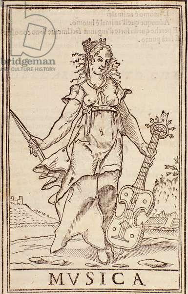 """""""Allegory of music"""" Page from """"Somma di tutte le scienze"""" essay by Aurelio Marinati (16th century)"""