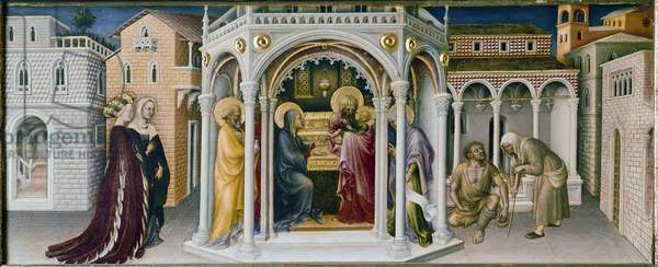 Altarpiece of the Adoration of the Magi: detail of the presentation at the temple - predelle (oil on panel, 1423)