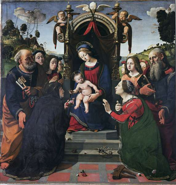 Virgin and Child on the throne surrounded by saints Painting by Piero di Cosimo (1462-1521) circa 1493 Dim 203 x 197 cm. Florence, Museo Dello Spedale Degli Innocenti
