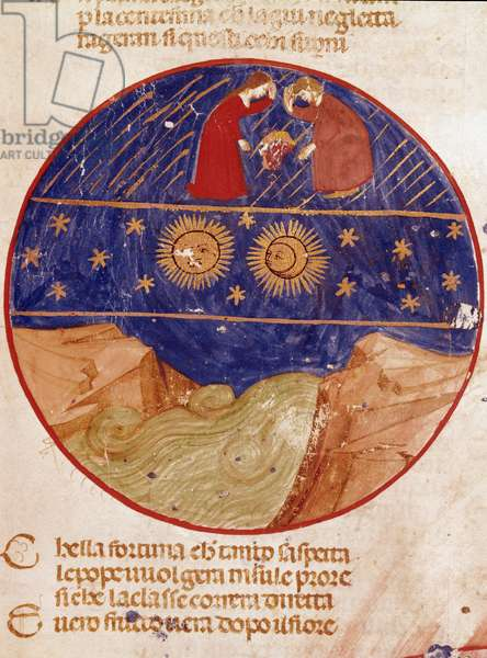"Dante and Beatrice look from heaven, Earth and stars. Illuminated page illustrating a song of Paradise from the ""Divina Commedia"" by Dante Alighieri (1265-1321). 14th century, Venice, Biblioteca Marciana"