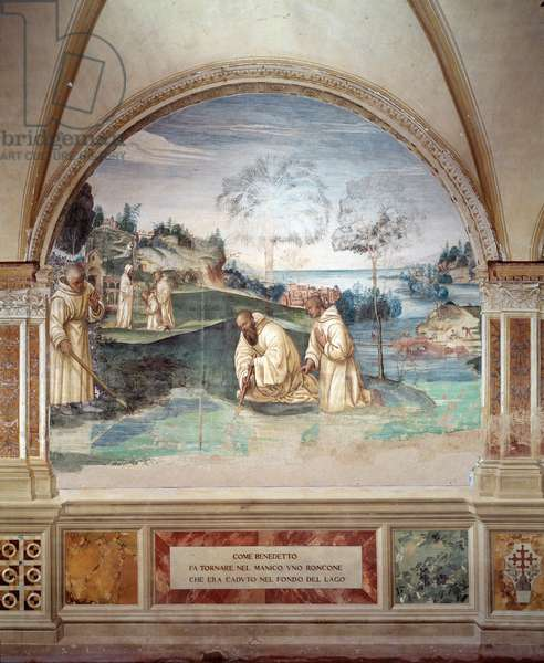 Benedict gets a sickle fell into the lake fresco of the cloitre made by Giovan Antonio Bazzi di Sodoma (1477-1549) recounting the life of Saint Benedict of Nursie (480 - 567) founder of the Order of Benedictine 1505-1508 Abbey of Monte Oliveto Maggiore, Florence