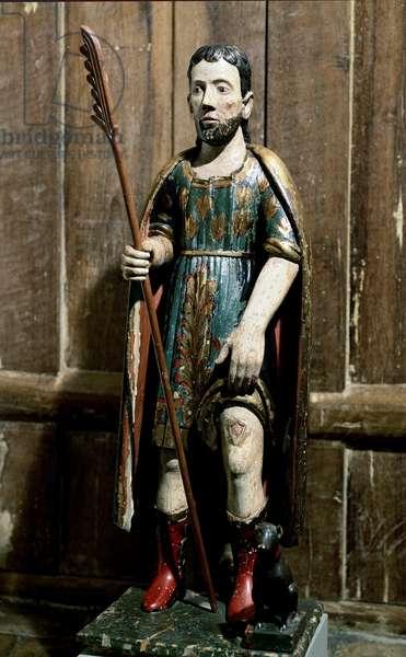 "Popular art: """" Saint Roch"""" The saint carries the bubon of plague on his leg. Anonymous 18th century sculpture. Sao Paulo, Museum of Art"