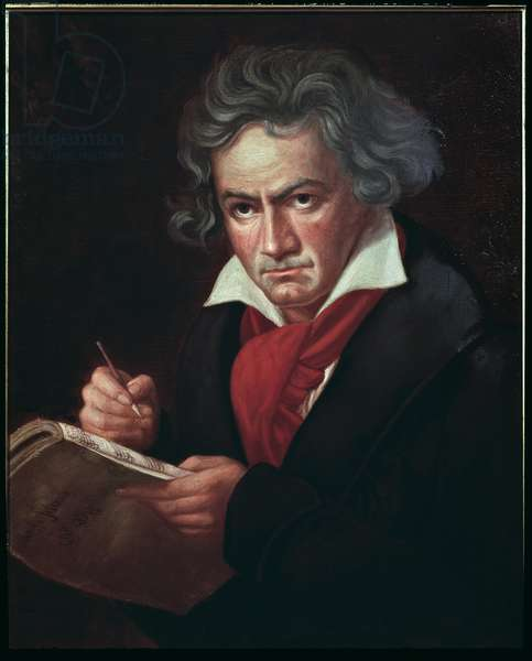 "Portrait of Ludwig van Beethoven (1770-1827), German musician, composing the Missa solemnis"" (Ludwig van Beethoven (1770-1827) German composer, composing a mass) Painting by Karl Joseph Stieler (1781-1858) 1819-1820 Bonn, House of Beethoven"