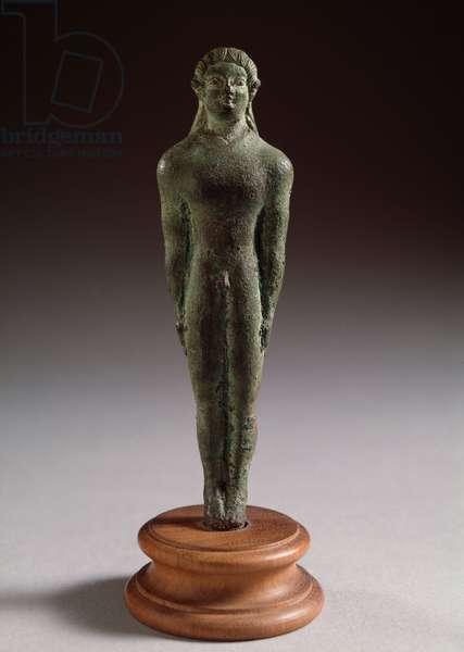 "Etruscan civilization: """" kouros"""" Bronze sculpture, 520-500 BC Dim 12 cm (Etruscan art, kouros, bronze sculpture, 520-500 BC, Dim 12 cm) Florence, Museo Archeologico"