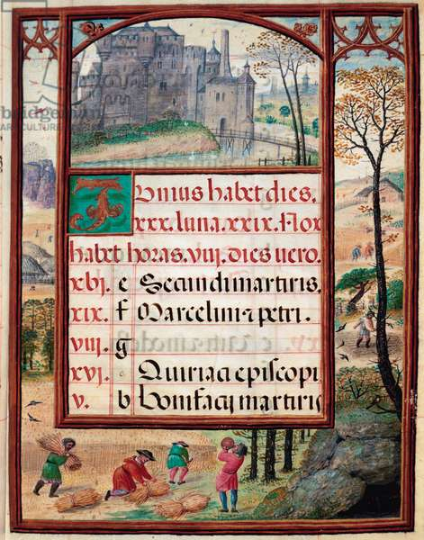 """Month of June: landscape and harvests. Peasants at work. Page of the manuscript """""""" Book of Hours"""" by Manuel I of Portugal (1469-1521) 1517. Lisbon, Museo di Arte Antica"""