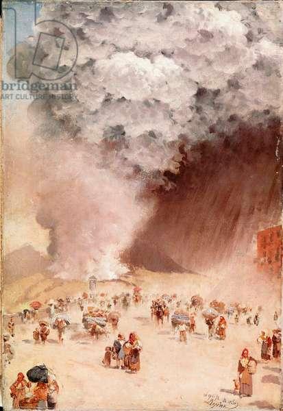 "Rain of ashes or """" the eruption of the Vesuve"""" Painting by Giuseppe De Nittis (1846-1884) 1872 Florence, Galleria d'Arte Moderna"