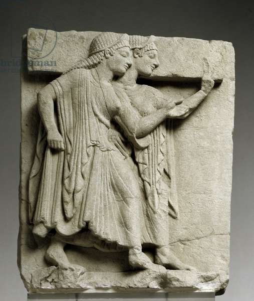 Metope with chorus of young girls,from Paestum, Heraion of foce Sele ,