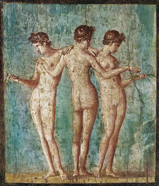 """Roman Art: """"The three graces"""" (The three graces, fresco from Pompeii, Italy, 1st century AD) Fresco of the 1st century after JC Naples, Museo Archeologico Nazionale inv 9231 - Roman art: The Three Graces. Fresco of the 1st century AD. From Pompei. National Archaeological Museum, Naples, Italy"""