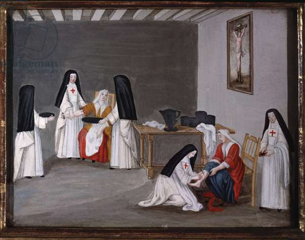 Nuns of the Abbey of Port-Royal-des-Champs caring for sick people (painting, 1710)