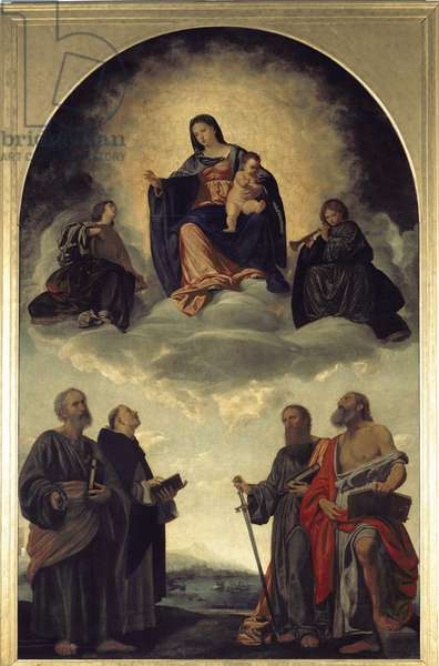 Our Lady in glory with the child Jesus, angels and St. Peter, St. Dominic, St. Paul and St. Jerome. Painting by Giovan Girolamo Savoldo (1480-1550), 1524. Oil on wood. Pinacoteca di Brera, Milan.