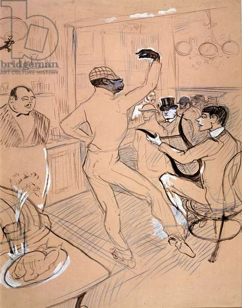 Rafael Padilla says Chocolate dancing in a bar. Illustration of Irish and American bars. Drawing by Henri de Toulouse Lautrec (1864-1901), 1896. Chinese ink and gouache on paper. Musee Toulouse-Lautrec, Albi