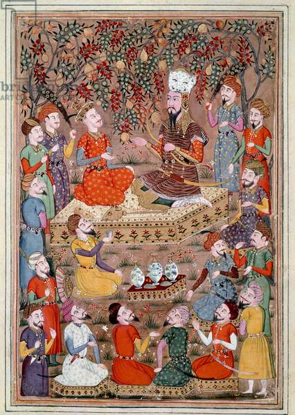 """Islamic Art: """""""" Roustam asks Kei Khosraou for the grace of Gourguin"""""""" Persian miniature from a manuscript of the epic poem """""""" Shahnameh"""""""" (Shah Nama, Shahnama) (Book of Kings) by Ferdowsi (Firdawsi, or Ferdawsi, or Firdousi, ca. 940-around 1020) (ms. 607) Ly, Conde Museum"""