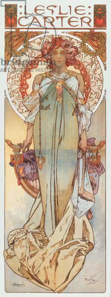 """Advertising illustration by Alphonse Mucha representing stage actress Leslie Carter in her new play """""""" Kassa"""" - 1908 Dim 78x209 cm Private collection"""