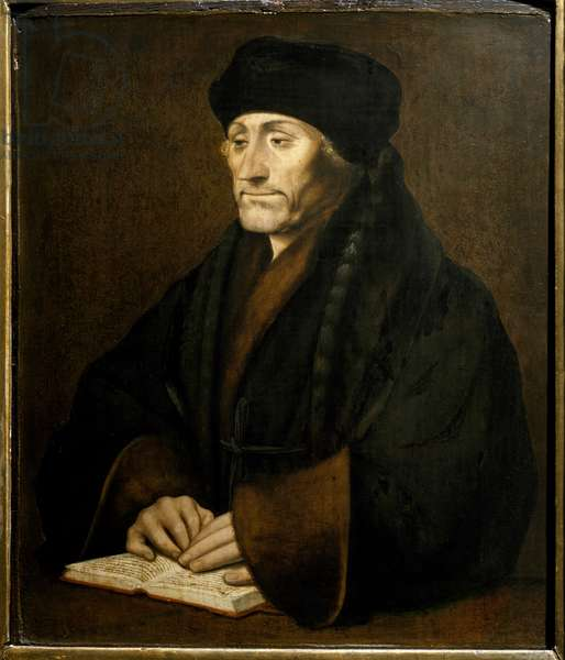 Portrait of Didier Erasme (Erasmus of Rotterdam) (1469 - 1536), Dutch humanist. Painting after the original by Holbein Hans the Young (1497-1543) Galleria Sabauda Turin ©Luisa Ricciarini/Leemage