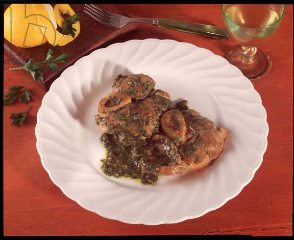 Food: Italian speciality, still life of ossobuco a la Milanese (Food still life: osso buco from Milan)