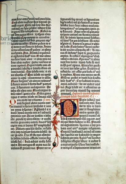 Page of the Bible printed by Johannes Gensfleisch Gutenberg (1400-1468) a Mainz en 1455-1456 Mainz Gutenberg Museum Germany