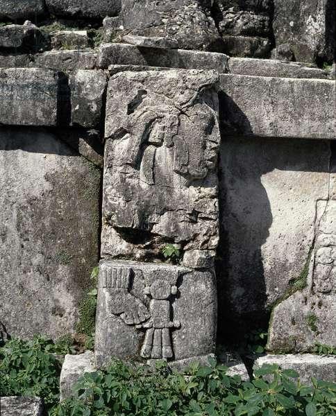 Precolombian art, Mayan civilization: stele, house C, patio 2, the Palace (the palacio) 7th-10th century Palenque, Chiapas Mexico (pre-columbian art, maya civilization: stele in the house C, patio 2 in the palace 7th-10th century Palenque Chiapas, Mexico)