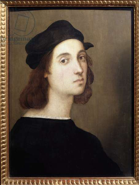 Self Portrait (Self-Portrait) Portrait of young man in black costume - Painting by Raffaello Sanzio dit Raphael (1471-1528), 1509 Dim 45x33 cm Musee des Uffizi (Galleria degli Uffizi), Florence