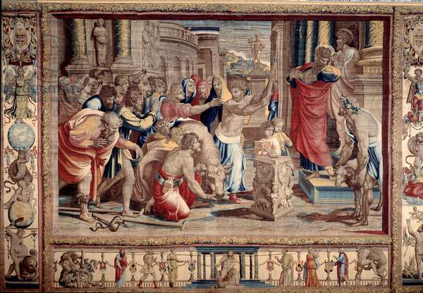The Sacrifice at Lystra - Life of the apostles Peter and Paul: Saint Paul rejecting divine honours, after having warried an invalid, the inhabitants take him for a god and want to make sacrifices - Tapestry d'after cardboard by Raffaello Sanzio (1483-1520) dit Raphael, 1515-1516 Sun. 495x772 cm Mantuva Palazzo Ducale Italy