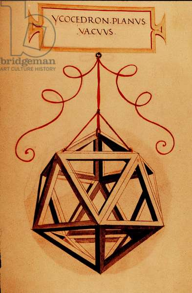 "Geometry: """" An Icosahedron"""" Page taken from the manuscript """" De divina proportione"""" (On divine proportions) by mathematician Fra Luca Pacioli dit Luca di Borgo (1445-1517) illustrated by Leonardo da Vinci (1452-1519).1509."